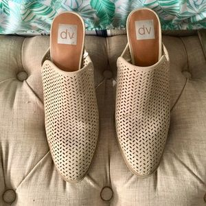 Taupe heeled mules